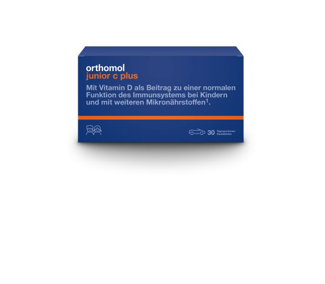 Packungsabbildung Orthomol junior C plus, Kautabletten Mandarine/Orange von Orthomol Pharm. Vertr. GmbH